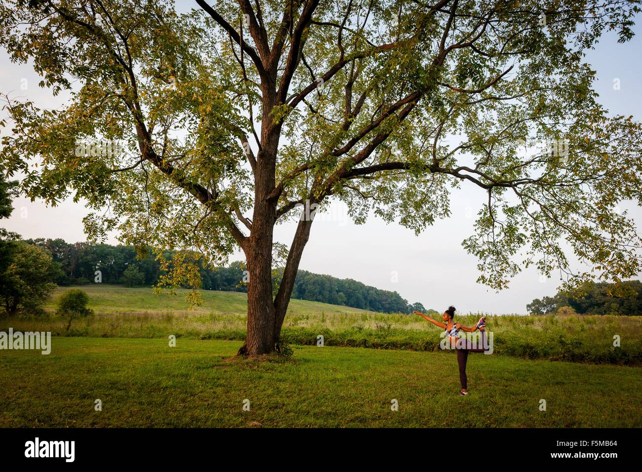 Distant view of young woman practicing yoga pose in rural park - Stock Image