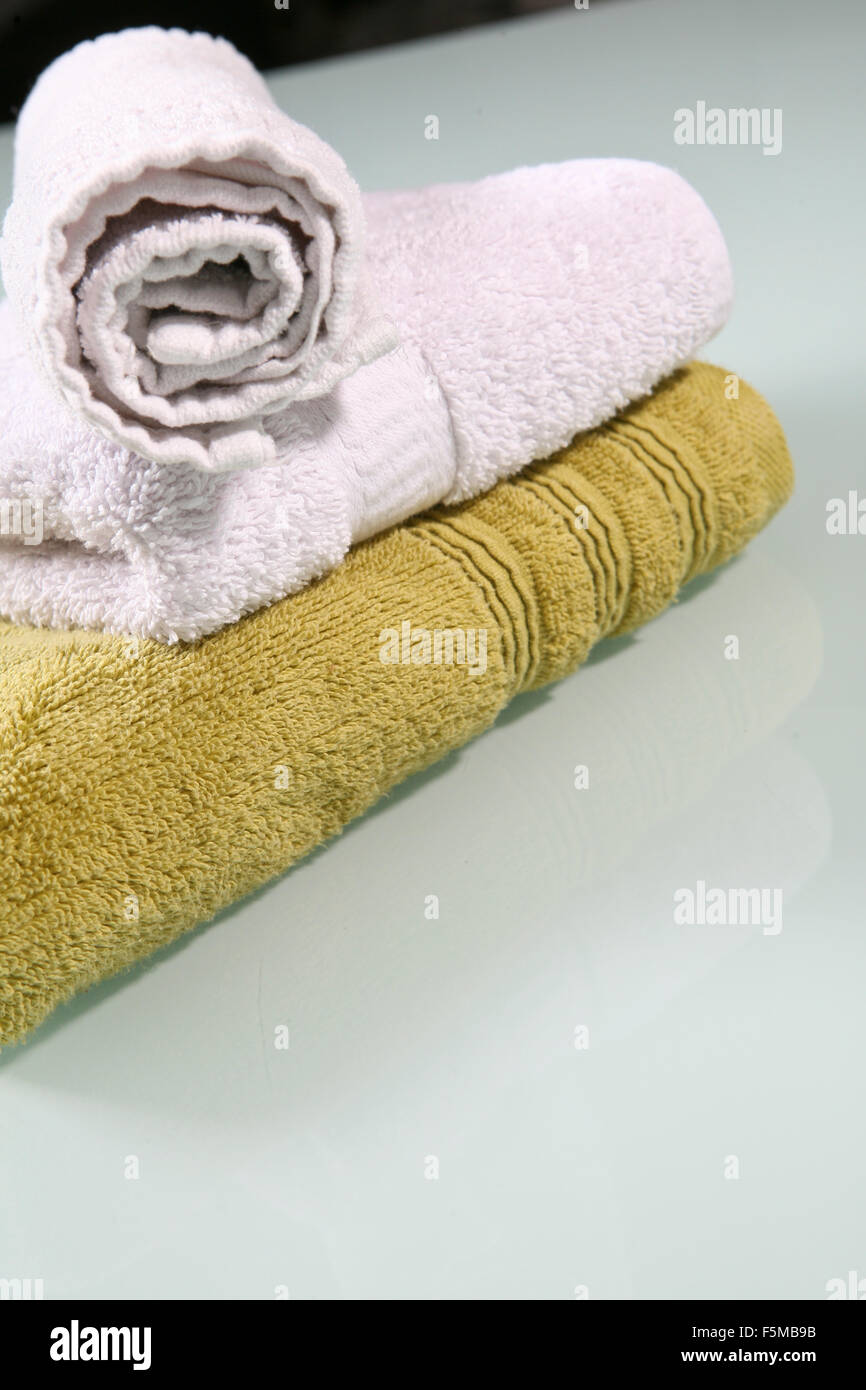 Stack of towels - Stock Image