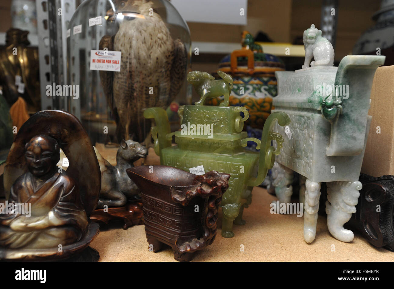 This picture shows other items from the same consignment to be sold at a later auction - Stock Image
