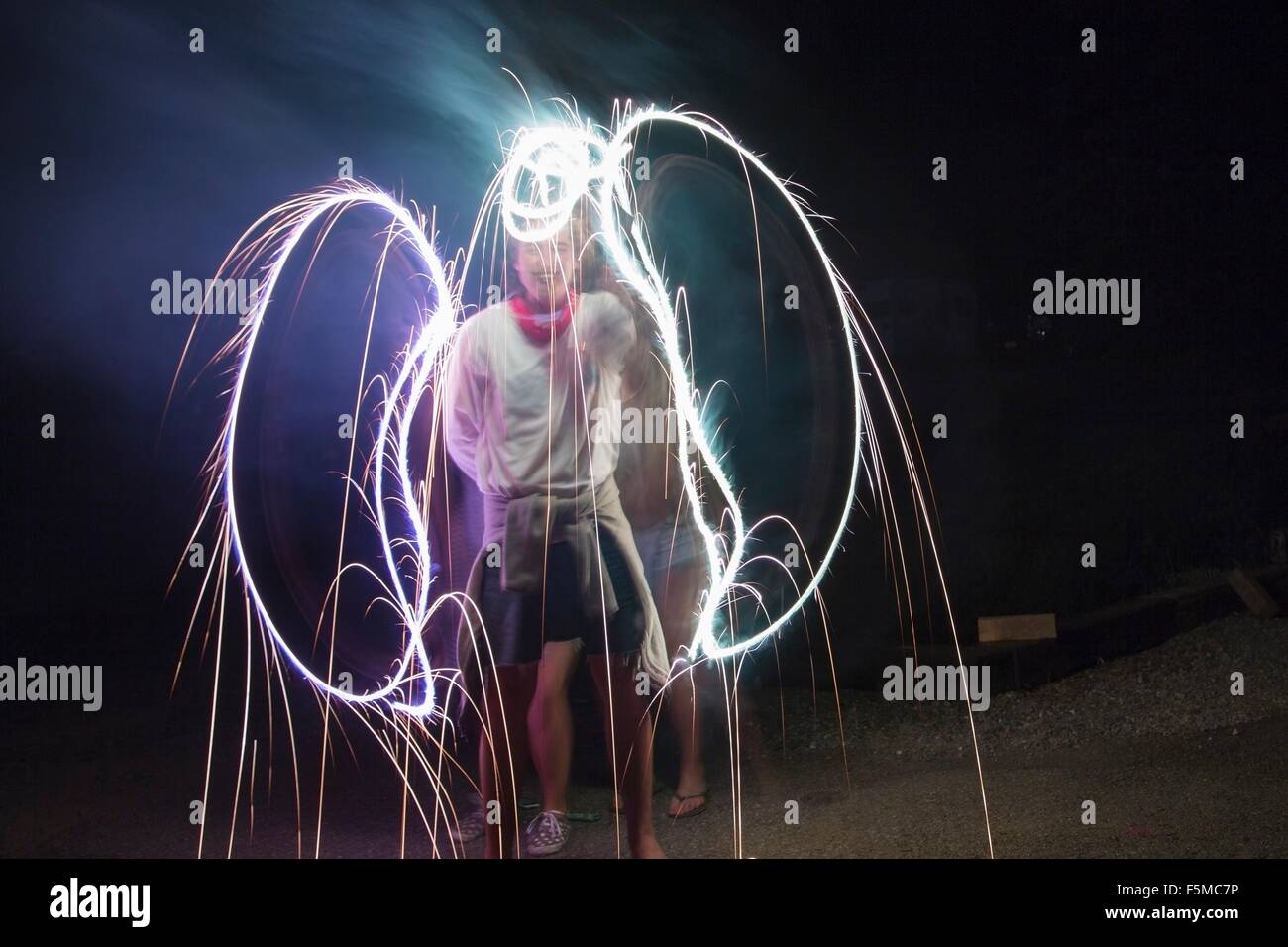 Two adult friends making sparkler angel wings in darkness on Independence Day, USA - Stock Image