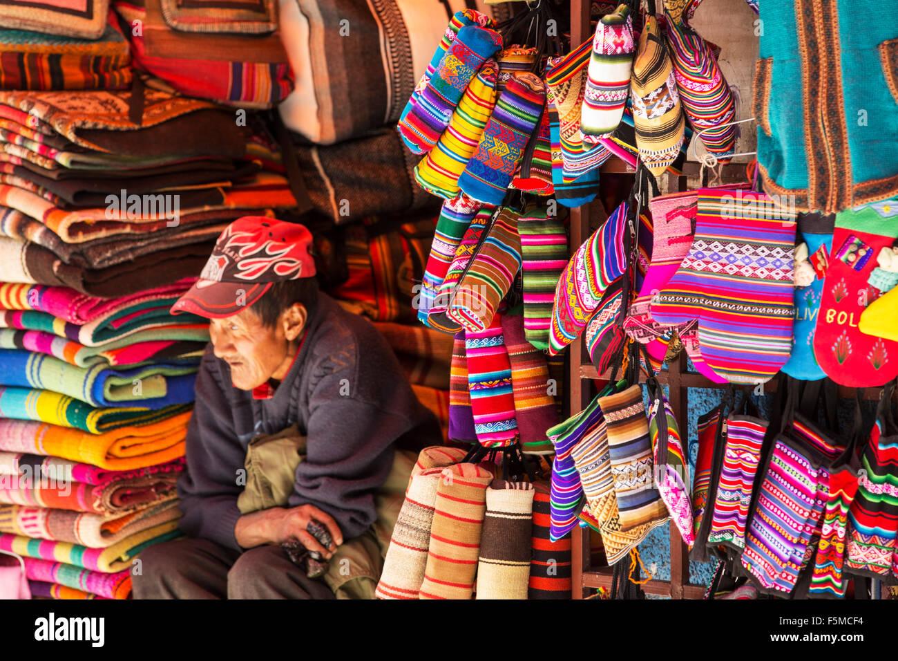 Colourful Bolivian fabrics for sale in La Paz, Bolivia, South America. - Stock Image
