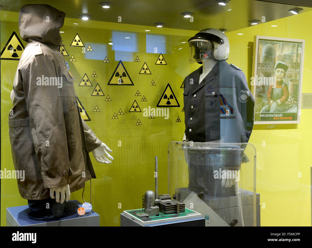 Artifacts from a typical anti-nuclear demonstration on show at the new exhibition 'Demo, Derrick, Discofieber - Stock Image