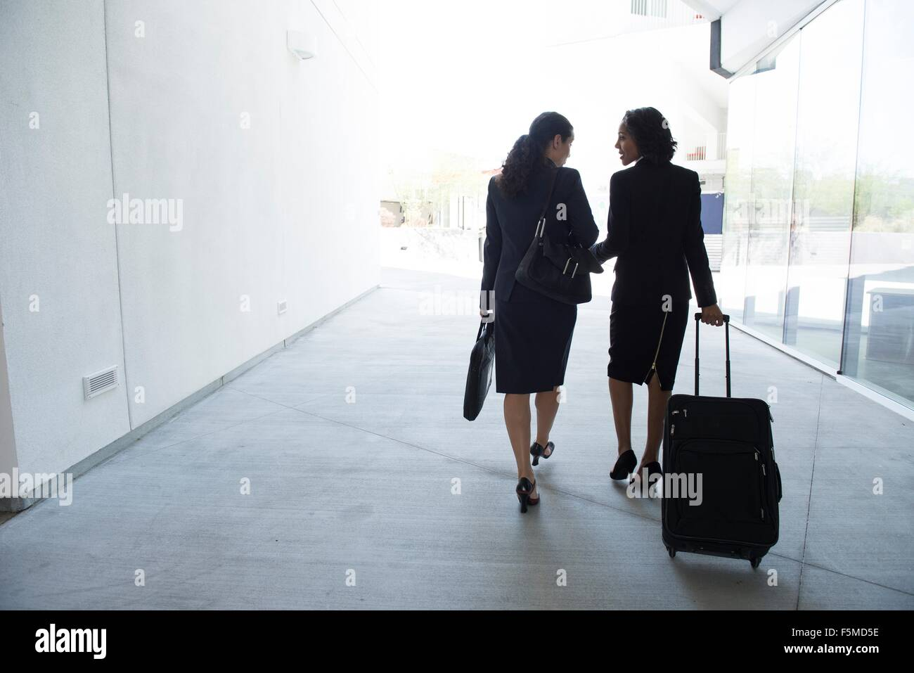 Two businesswomen in walkway, pulling suitcase, rear view - Stock Image