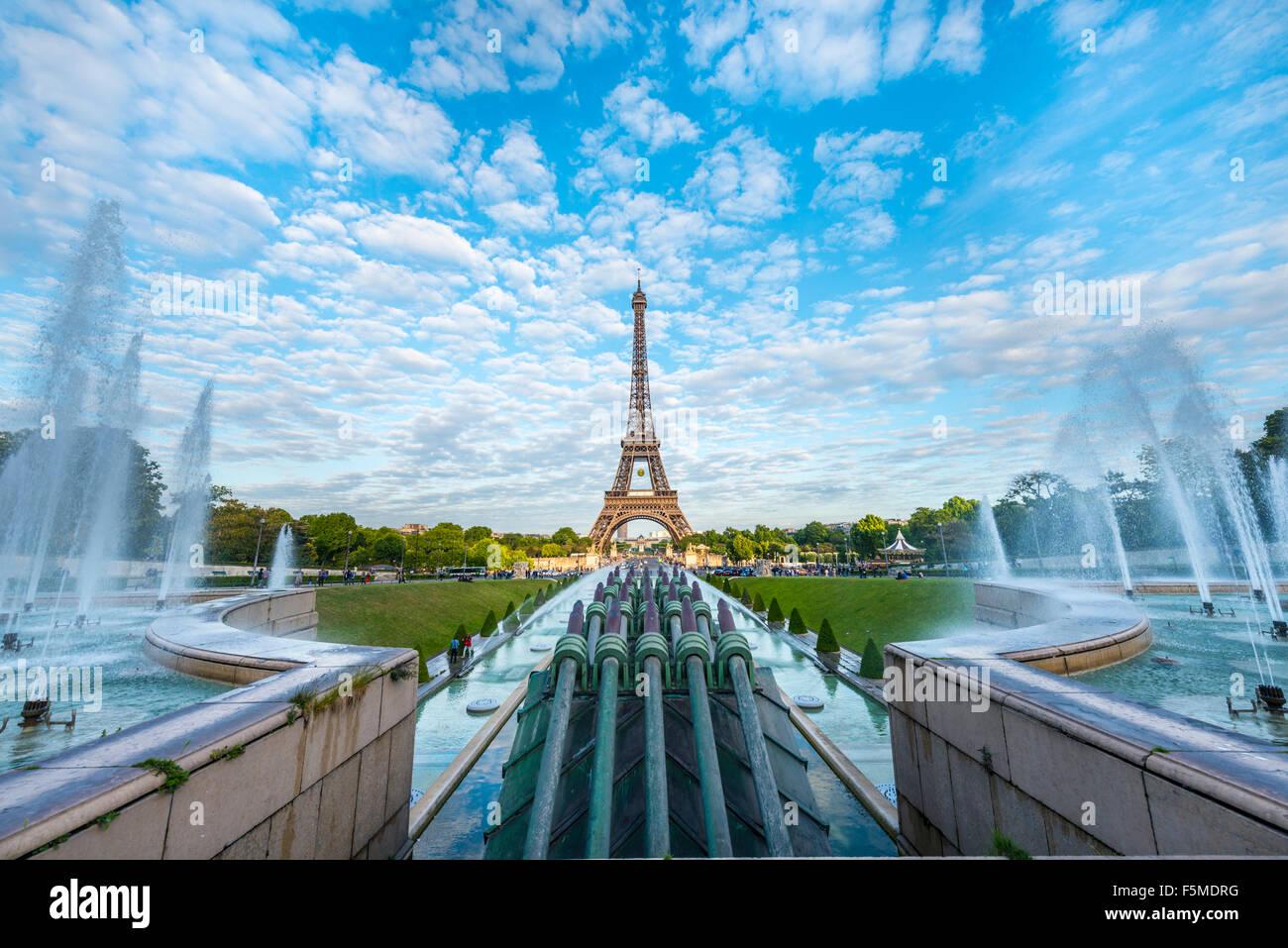 Eiffel Tower, tour Eiffel and Trocadero, Paris, Ile-de-France, France - Stock Image