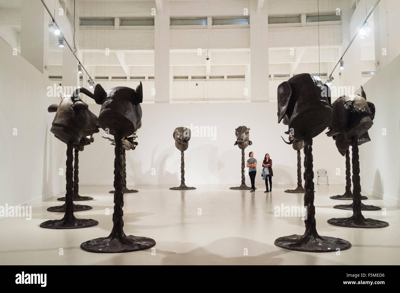 Circle of Animals /Zodiac Heads exhibition by Chinese artist Ai Weiwei at the CAC museum in Malaga, Andalusia, Spain Stock Photo