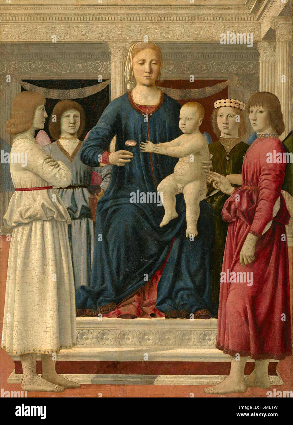 Piero della Francesca - Virgin and Child Enthroned with Four Angels Stock Photo