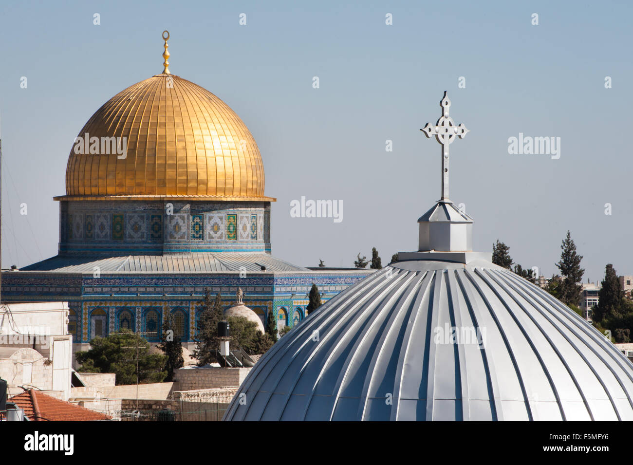 Our Lady of the Spasm Armenian Catholic Church and the Dome of the Rock in the Old City of Jerusalem. - Stock Image