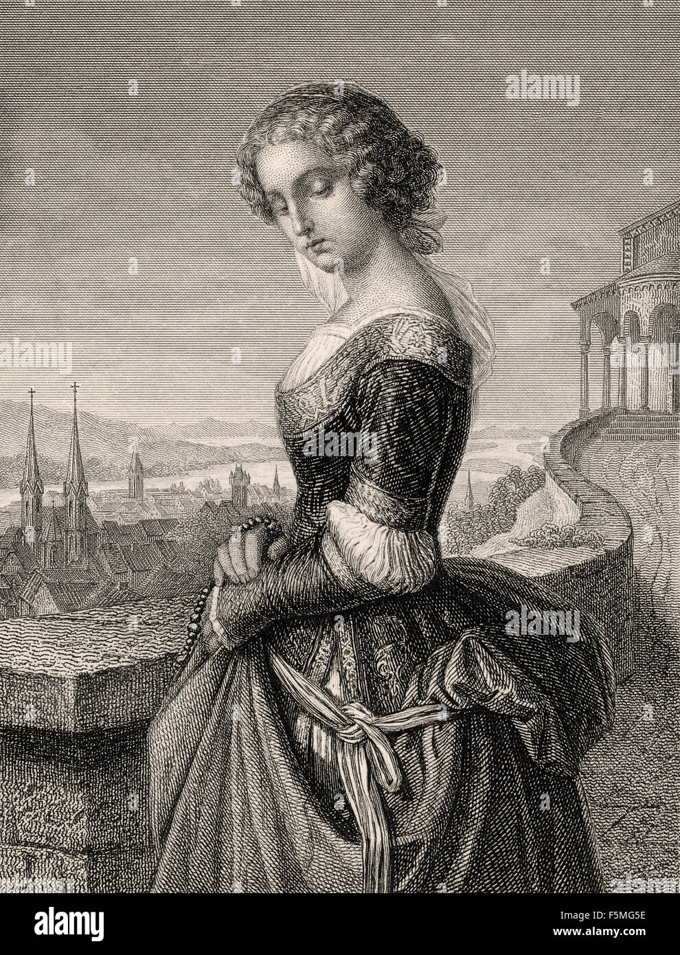 Margarete, known as Gretchen, in the tragedy Faust written by Johann Wolfgang von Goethe, - Stock Image