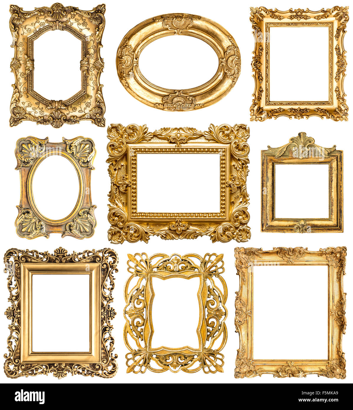 Golden frames isolated on white background. Baroque style vintage ...