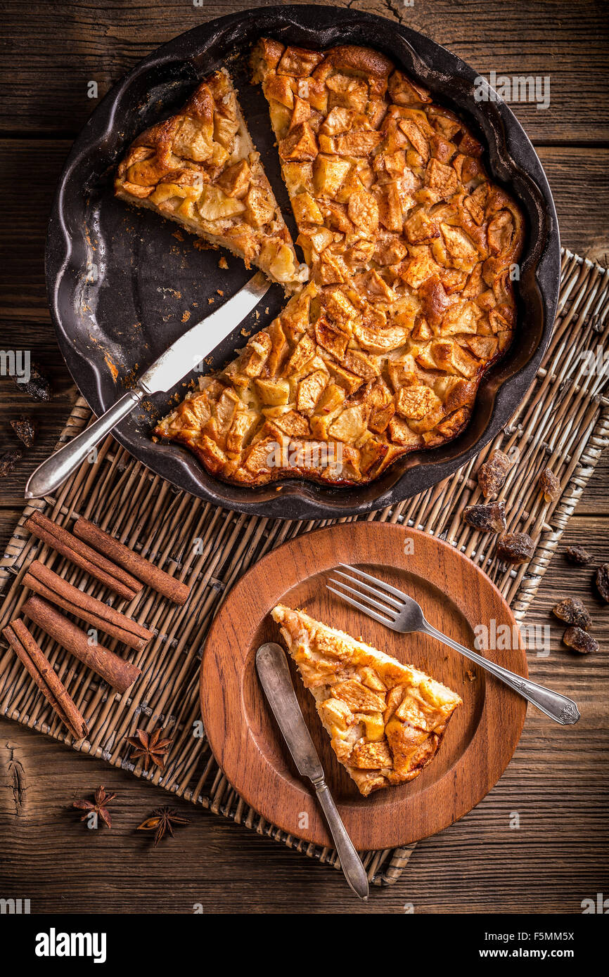 Removing slice of apple pie, top view - Stock Image