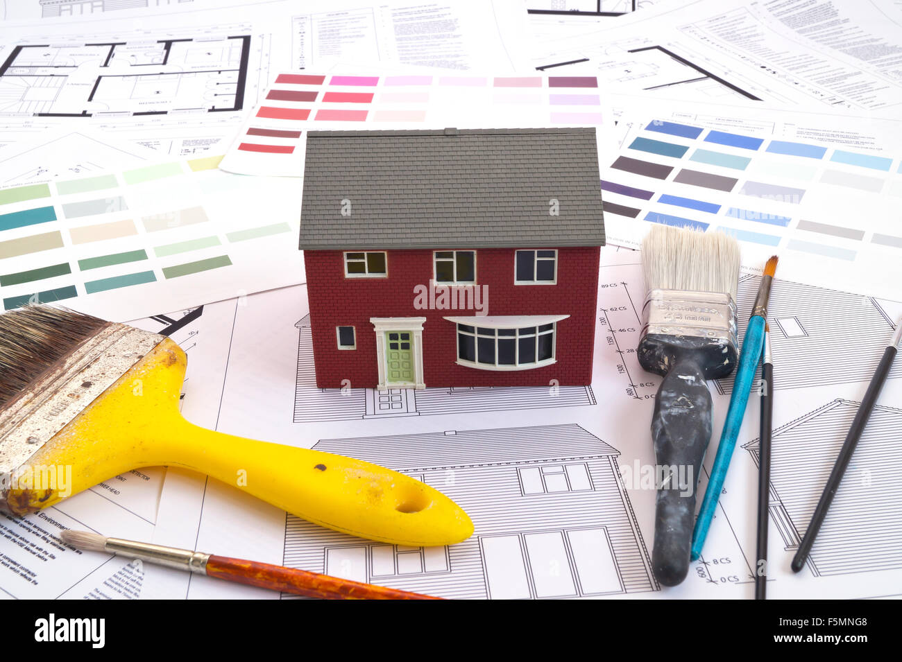 House and building plans or blueprint - Stock Image