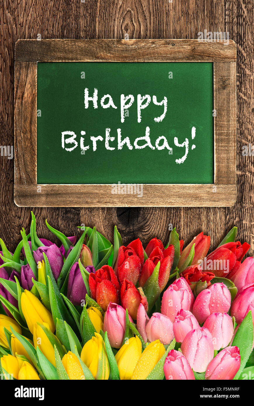 Tulip Flowers And Vintage Green Chalkboard Sample Text Happy Birthday