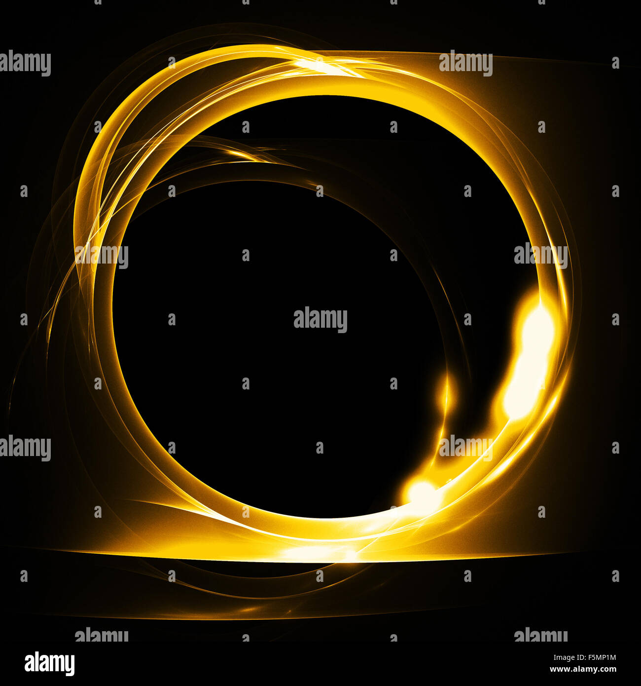 Molten gold ring. Abstract fire fractal with round hole on black background. Graphic pattern - Stock Image