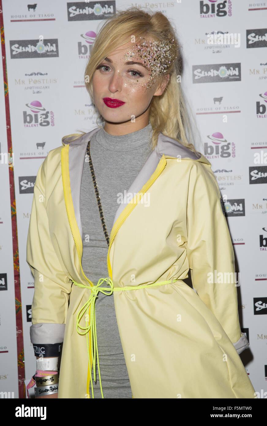 Celebrities at Sundown Festival  Featuring: jorgie porter Where: Norwich, United Kingdom When: 05 Sep 2015 - Stock Image