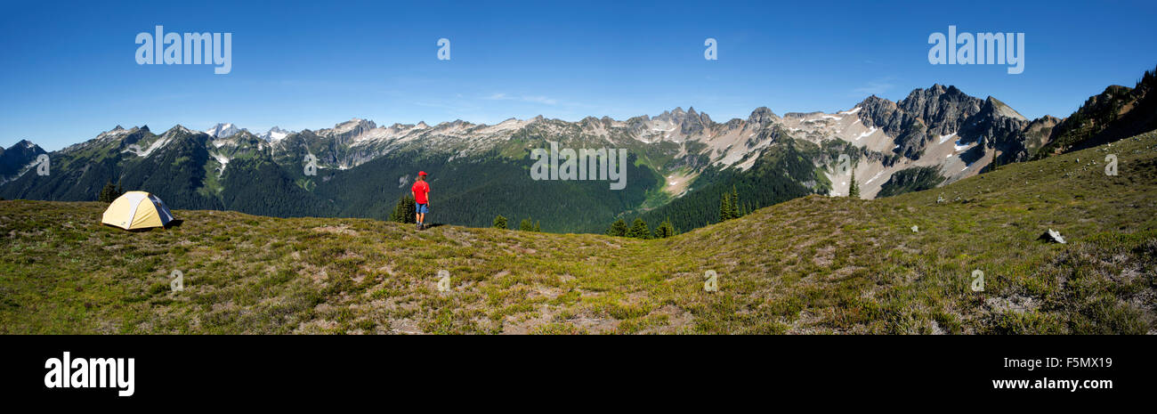 WA10865-00...WASHINGTON  - Backcountry campsite on the Canyon Lake Trail in the Glacier Peak Wilderness area. - Stock Image