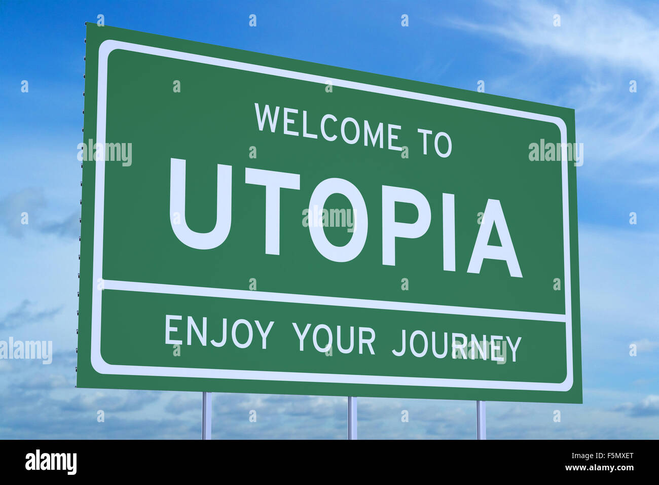 Welcome to Utopia concept on road sign - Stock Image