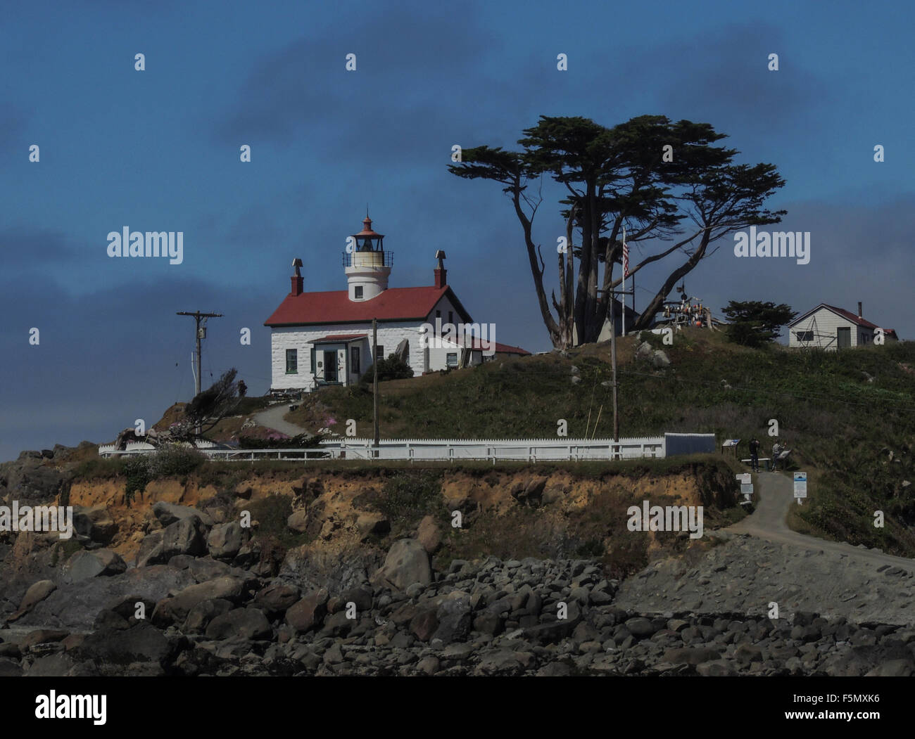Historic (1856) Battery Point Lighthouse, Crescent City, California, Pacific Coast. - Stock Image