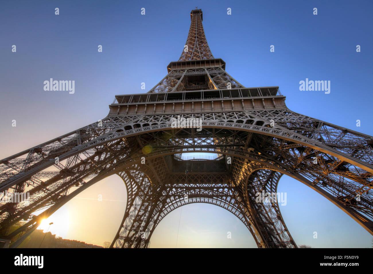Eiffel Tower at sunrise, Paris, France - Stock Image