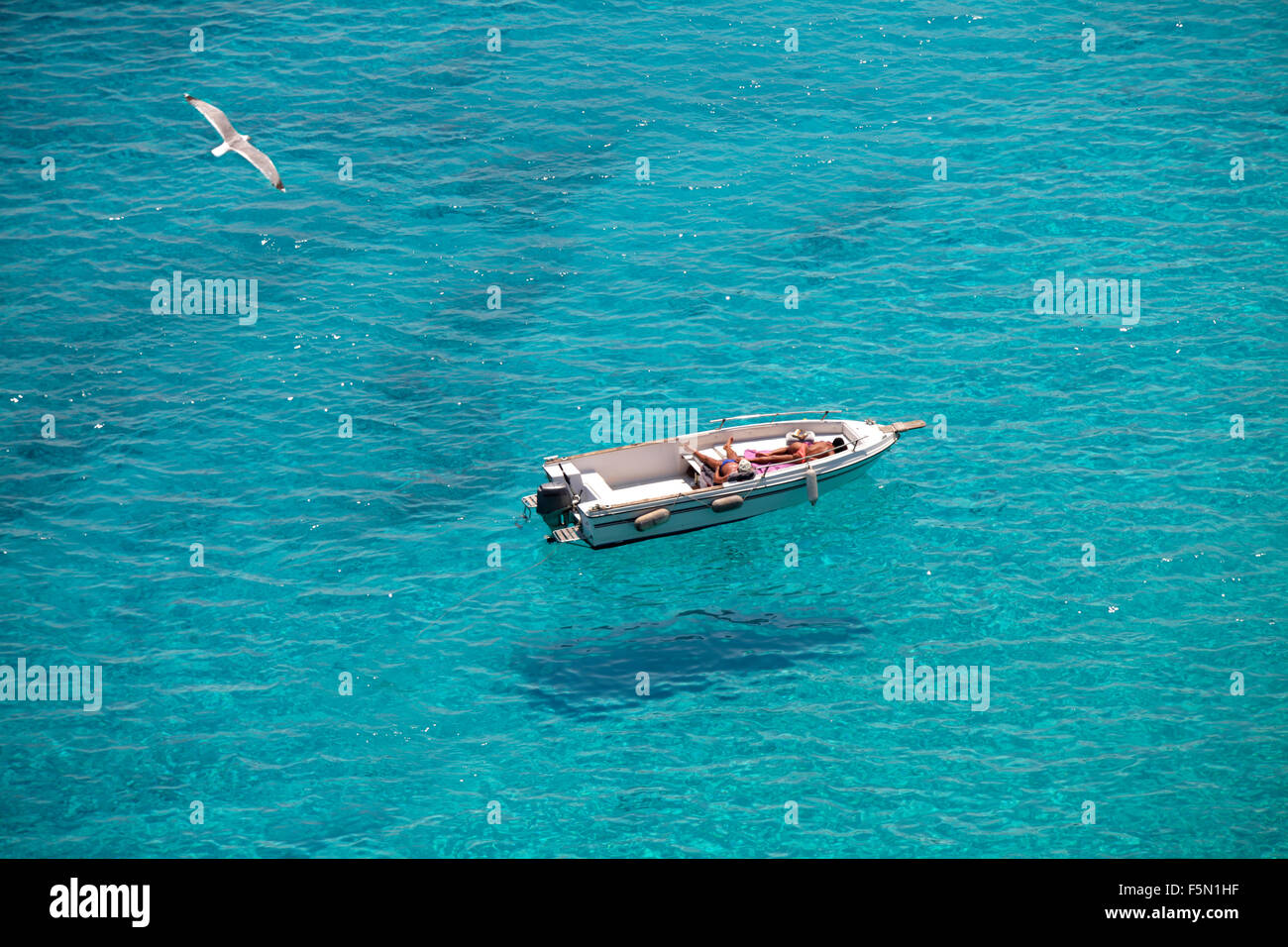 Flying boats at Tabaccara bay in Lampedusa, Italy - Stock Image