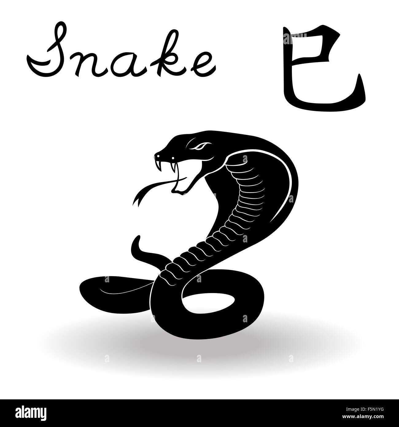 Chinese Zodiac Sign Snake Fixed Element Fire Symbol Of New Year On