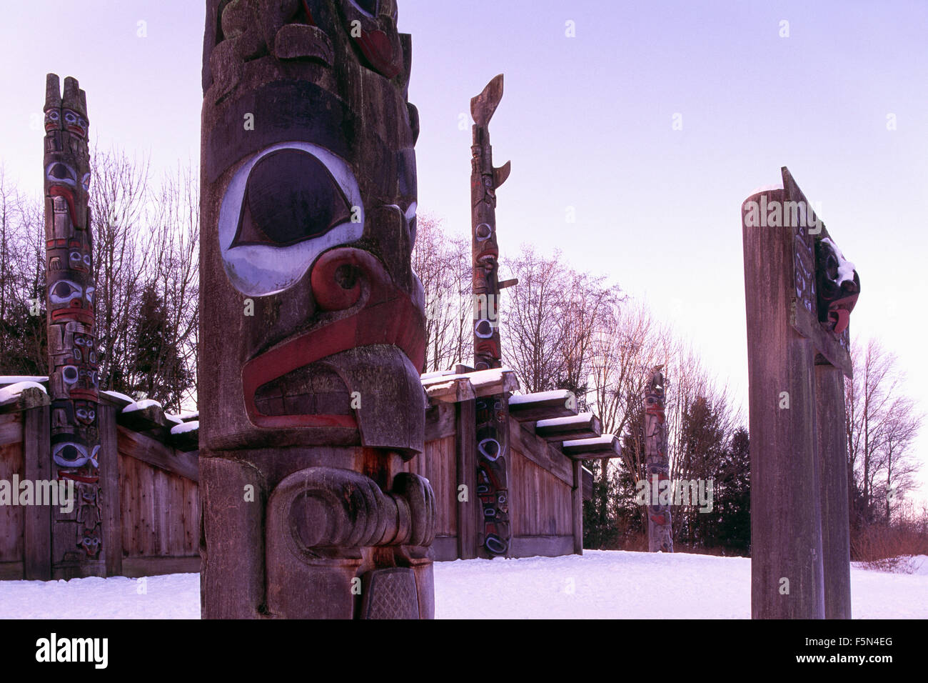 Haida Totem Poles & Plank Houses at Museum of Anthropology, University of British Columbia (UBC), Vancouver, - Stock Image