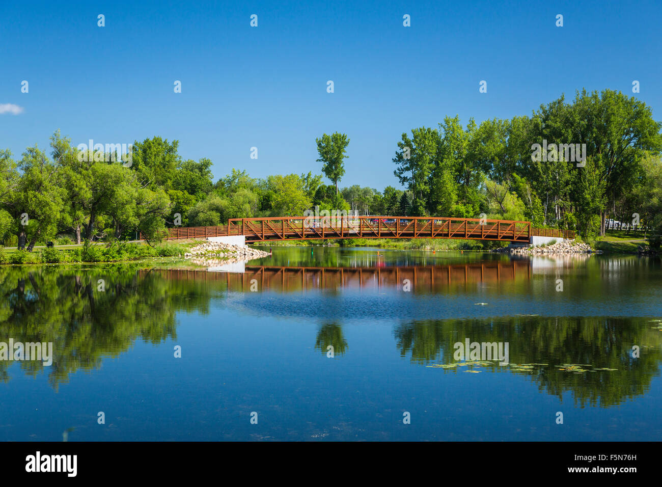 A city park and lake in Park Rapids, Minnesota, USA. - Stock Image