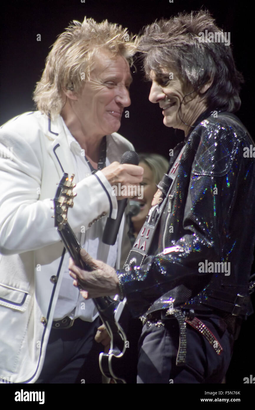 The Faces Reunion Concert at Hurtwood Park Polo Club  Featuring: Rod Stewart, Ronnie Wood Where: Surrey, United - Stock Image