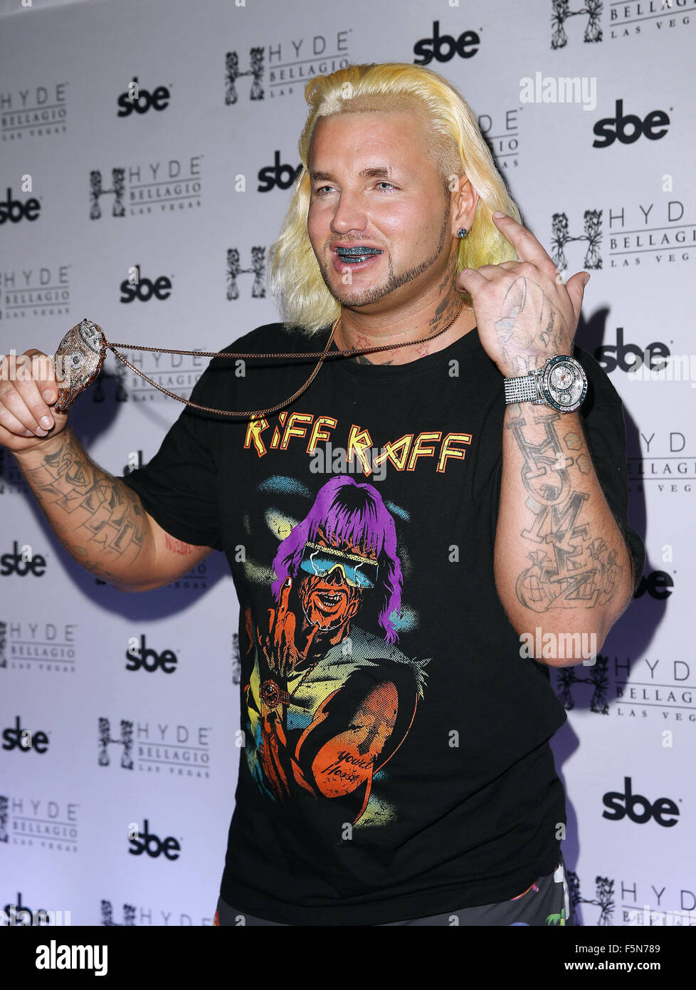 Travis Barker Returns to Hyde Bellagio Las Vegas  Featuring: Riff Raff Where: Las Vegas, Nevada, United States When: - Stock Image