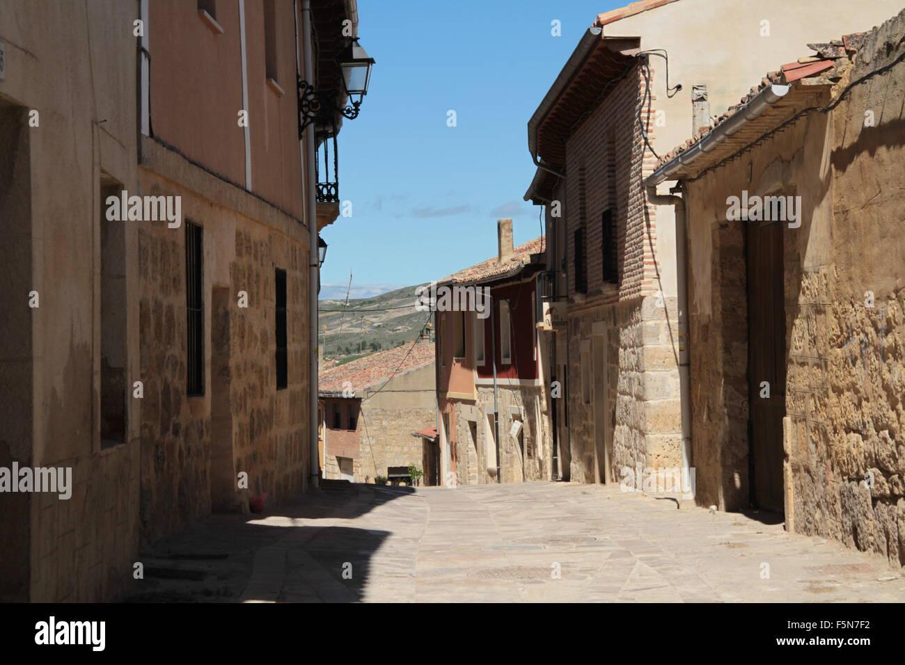 deserted village meseta Camino Santiago - Stock Image