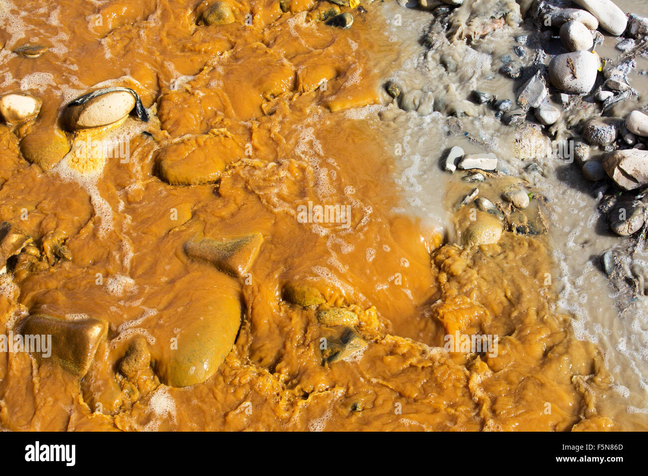 A river full of water contaminated by mine effluent, mixing with raw sewage in La Paz, Bolivia. La Paz will probably - Stock Image