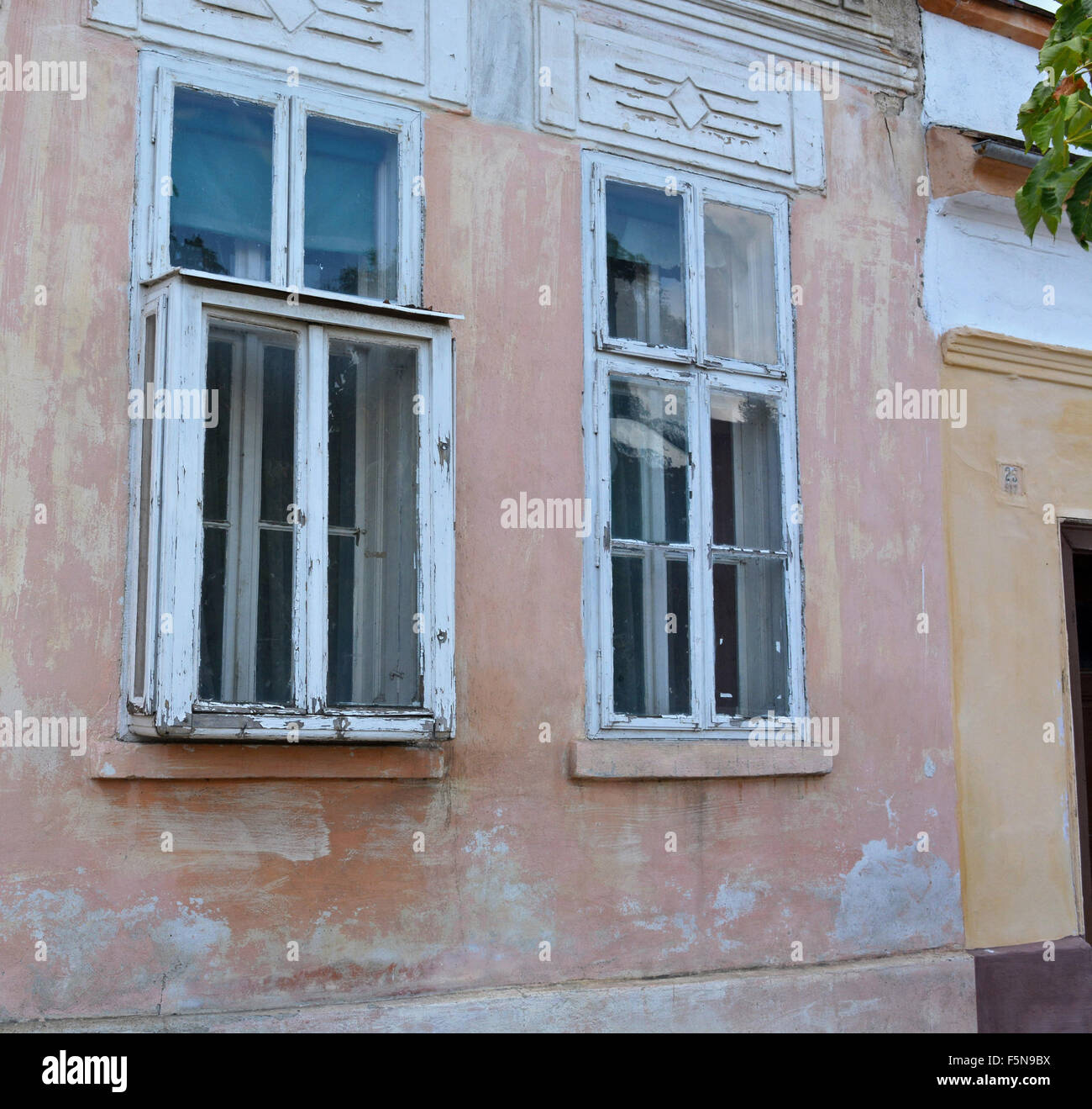 Antique protruding window (kibic) at home that was built in the first half of the last century. - Stock Image