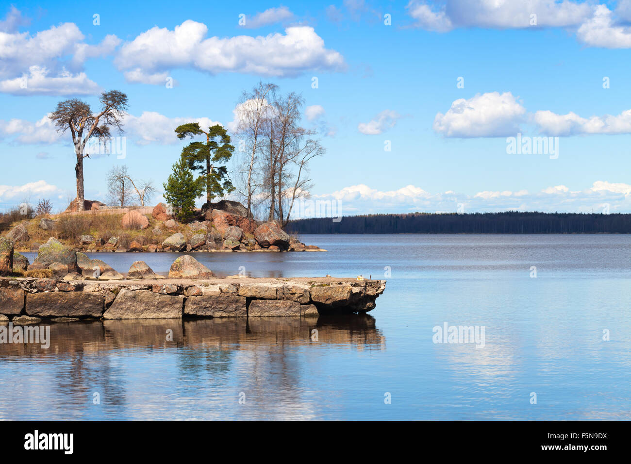 Mon Repos coastal landscape, park along the shoreline of the Vyborg Bay, Russia - Stock Image