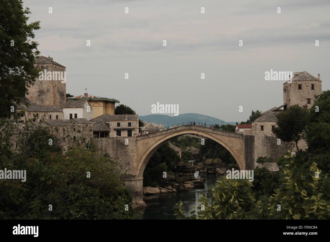 Stari Most Neretva River Mostar Bosnia - Stock Image