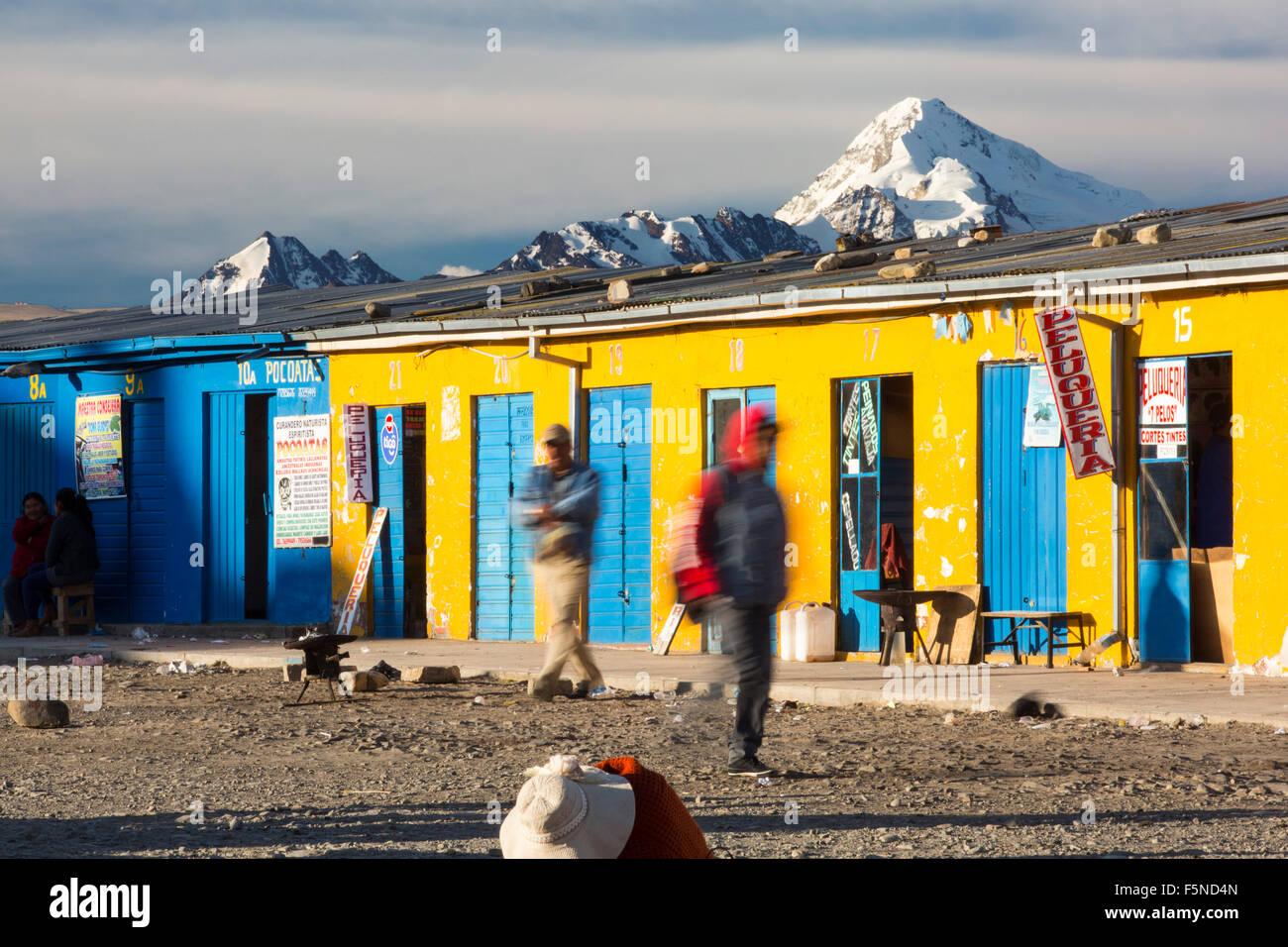 The peak of Huayna Potosi from El Alto above, La Paz, Bolivia. La Paz and El Alto are critically short of water - Stock Image