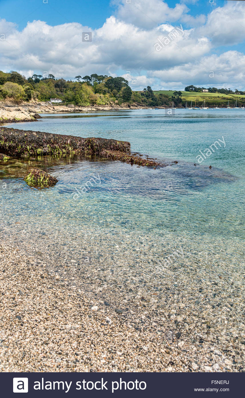 Coastline and Beach of Trebah Garden, Cornwall, England, UK | Strand und Kueste von Trebah Garden, Cornwall, England, - Stock Image