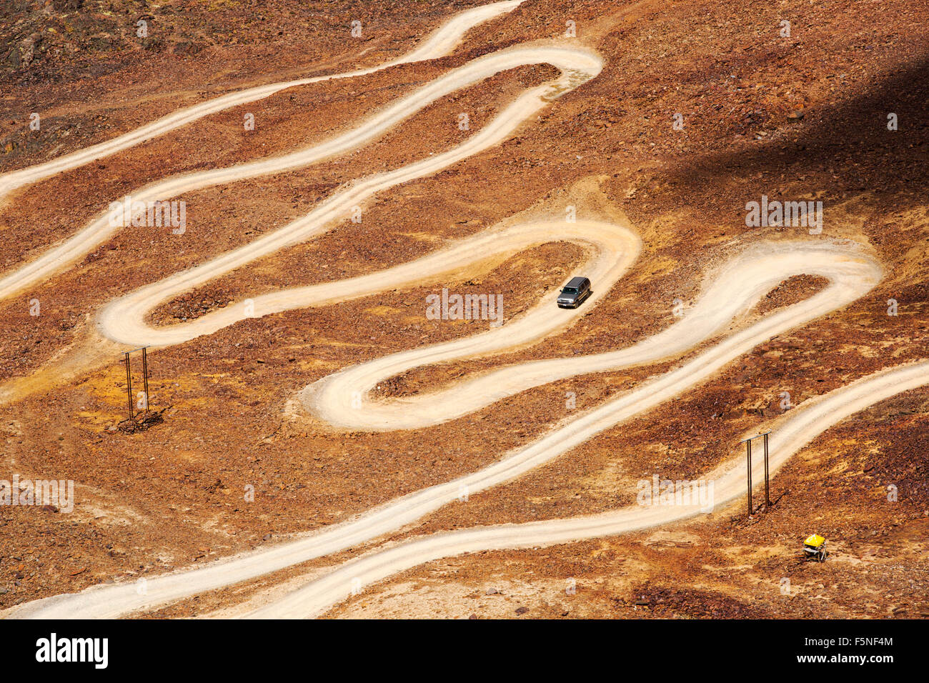 The switchback road that climbs to over 17,000 feet to the peak of Chacaltaya, one of the highest roads in the world, - Stock Image