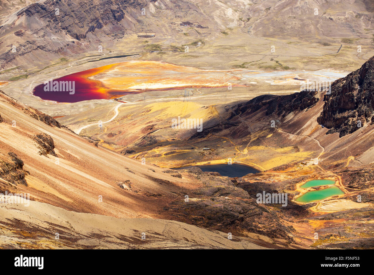 Colourful lakes below the peak of Chacaltaya in the Bolivian Andes, with a lake discoloured by mine effluent. Stock Photo