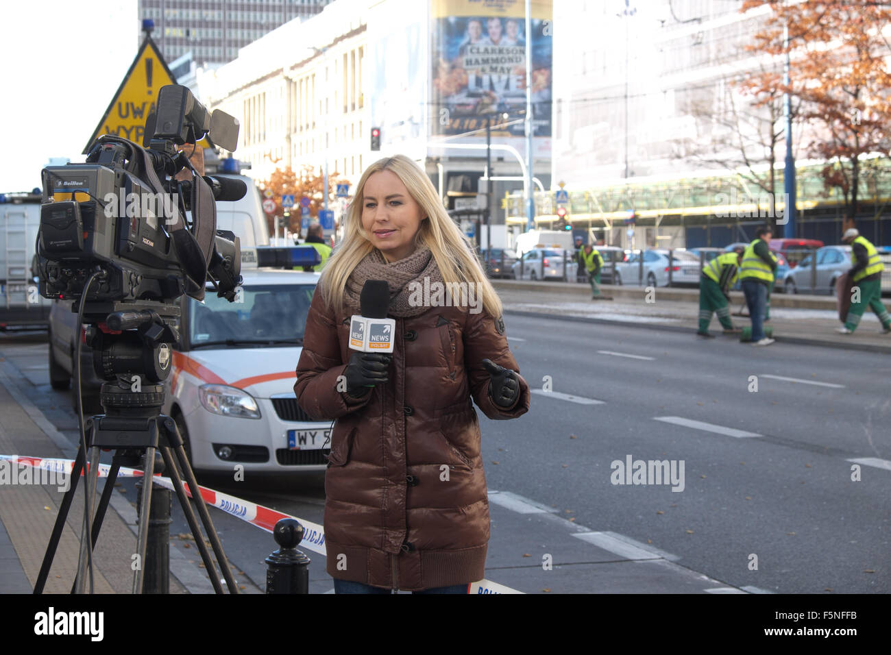 Warsaw Poland PolSat TV news broadcaster  at the scene of an accident in Warsaw city centre - Stock Image