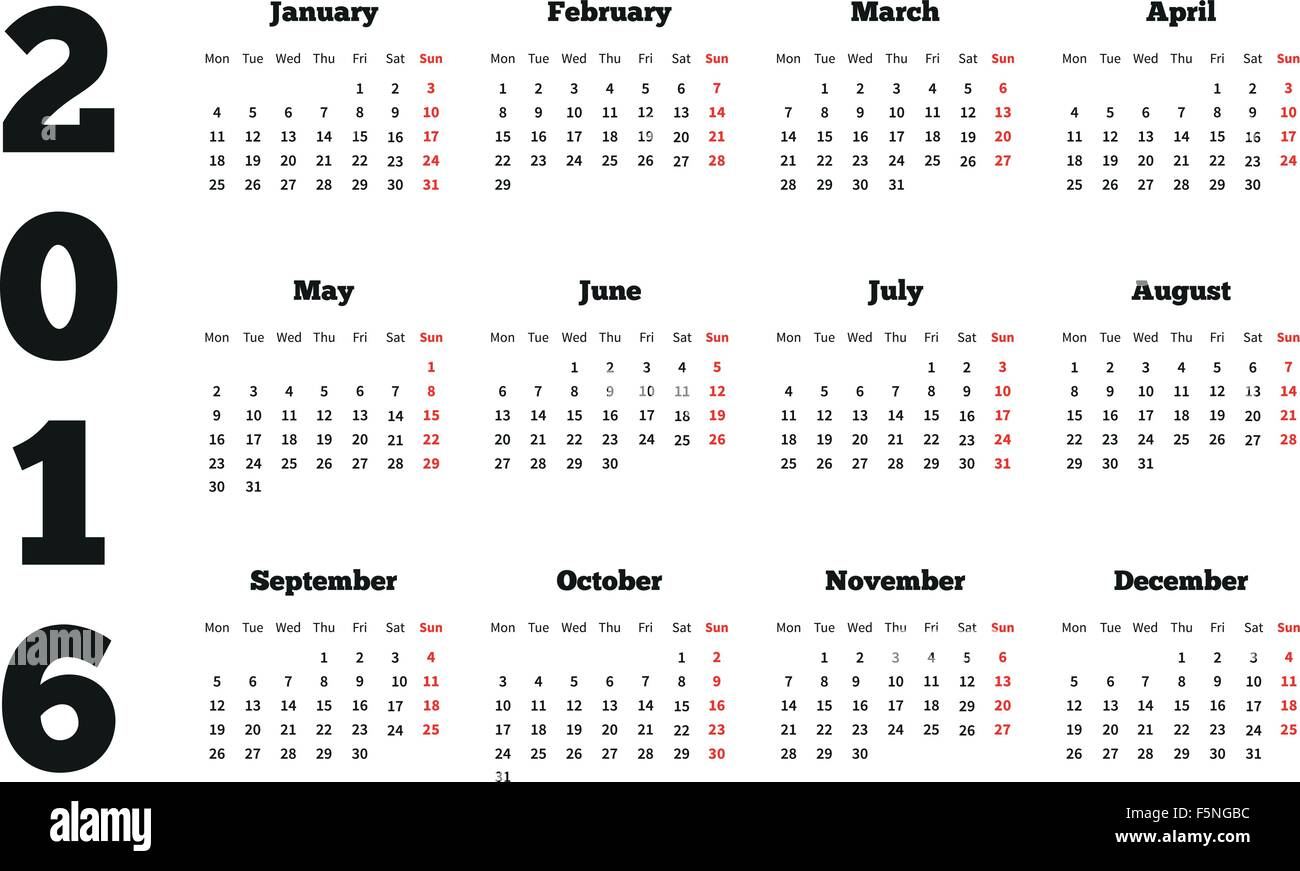 calendar on 2016 year with week starting from monday a4 sheet