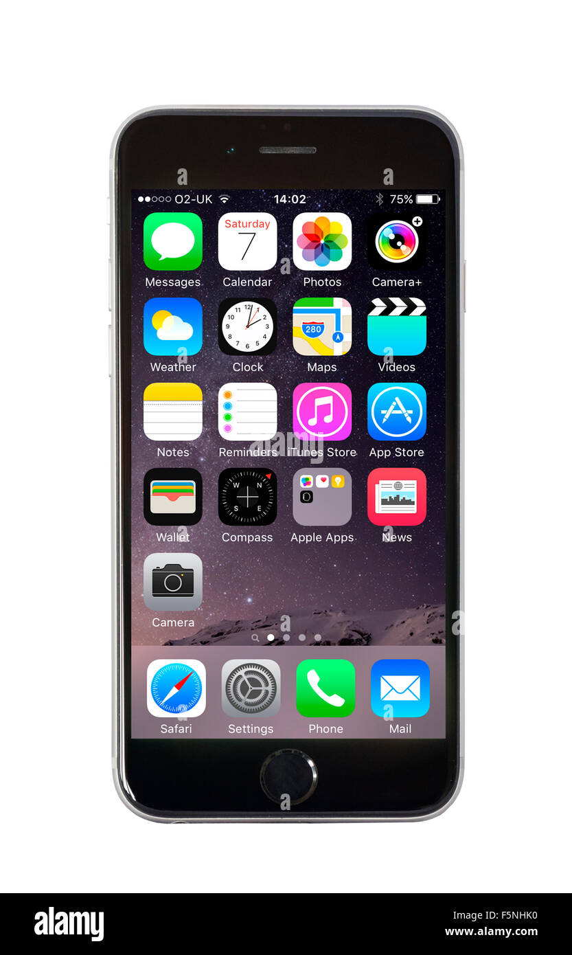 Default home screen on Apple iPhone 6 - Stock Image