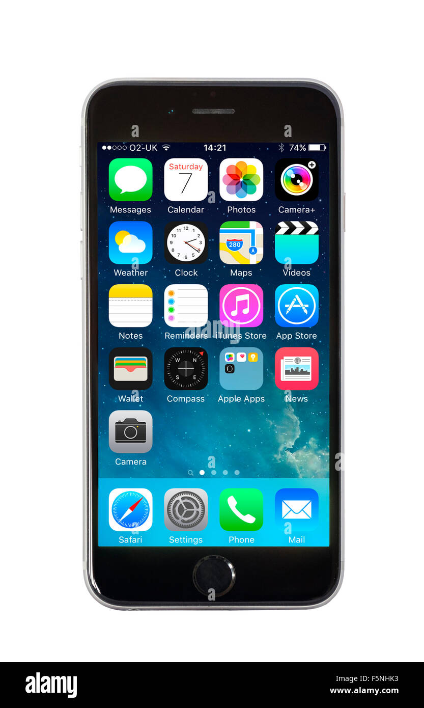 Home screen on Apple iPhone 6 - Stock Image