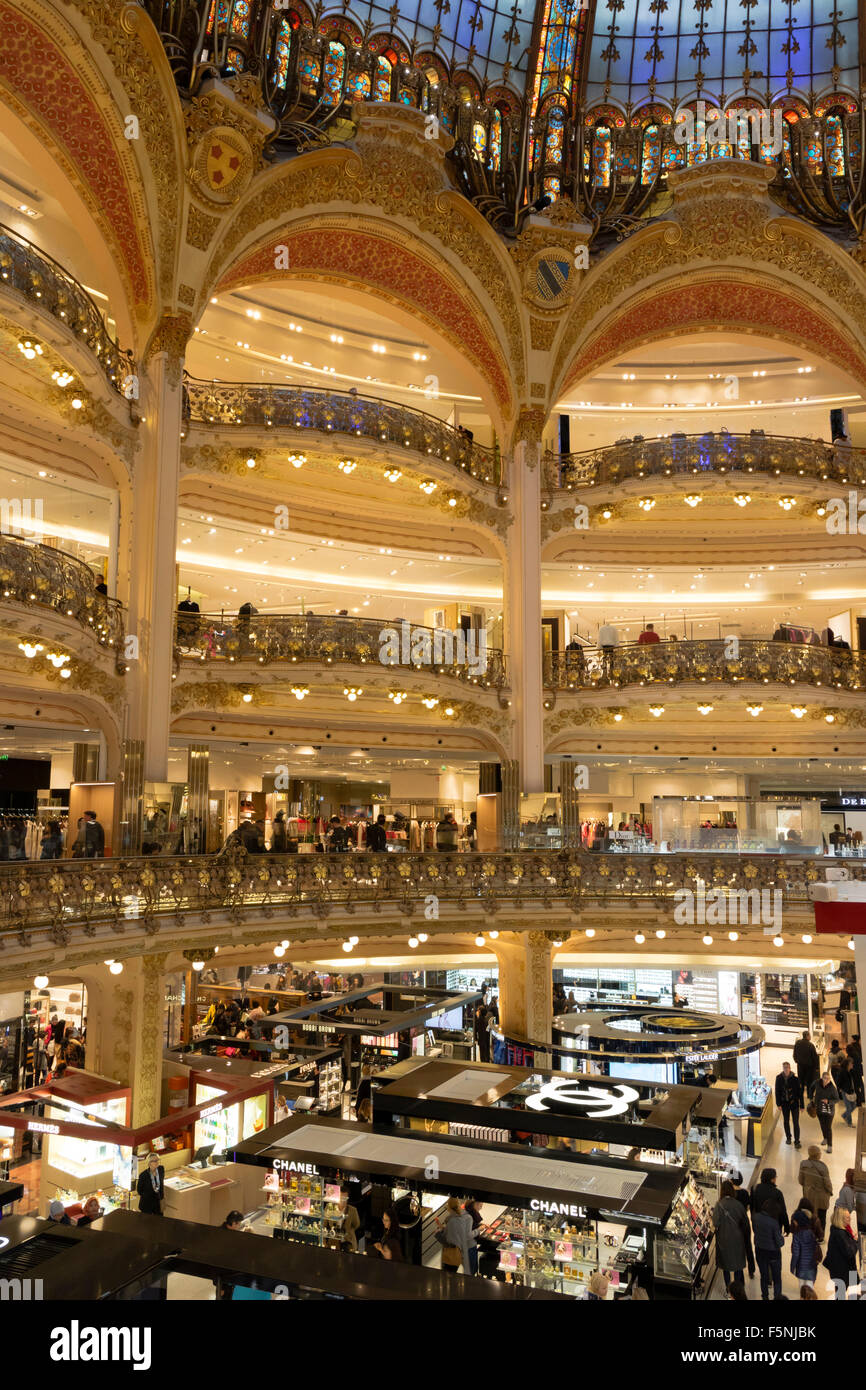 Floors in the Galeries Lafayette in Paris - Stock Image