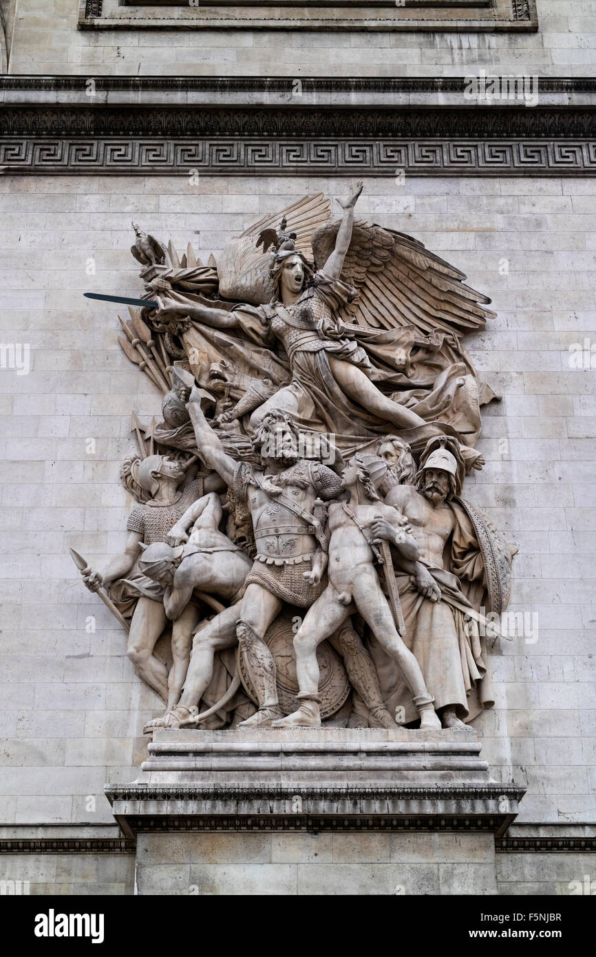 Sculpture from Francois Rude at the Arc de Triomphe in Paris - Stock Image