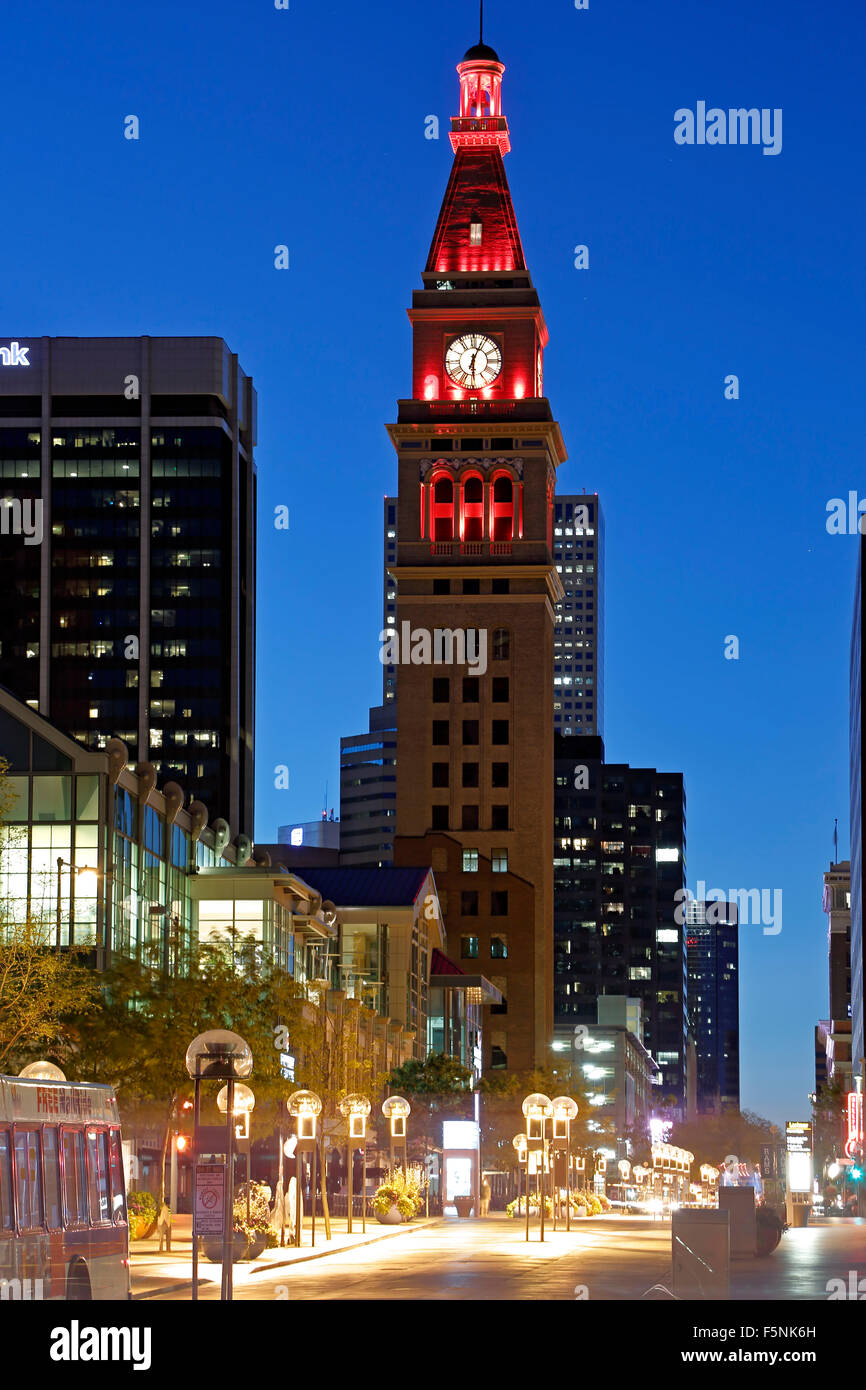 May D & F Tower, 16th Street Mall, Denver, Colorado USA - Stock Image