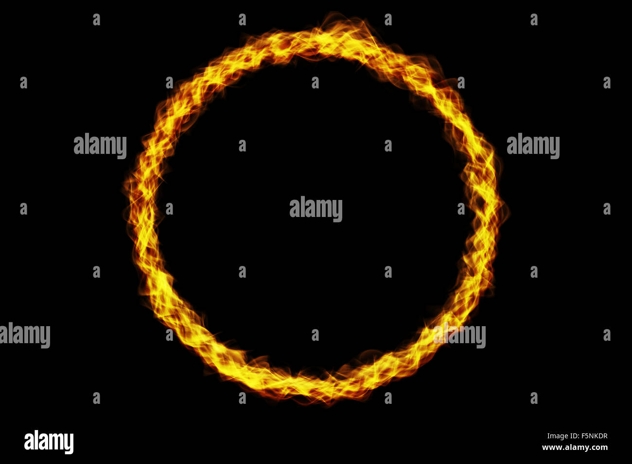Flame ring of fire burning on black background. - Stock Image