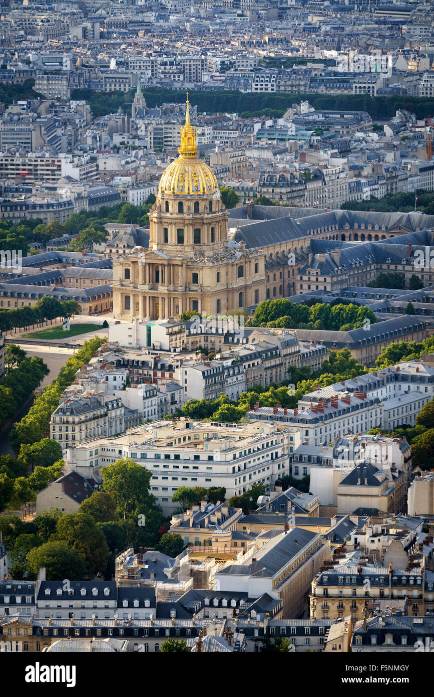 Aerial view of gold dome of the Invalides rising above rooftops of the 7th arrondissement, on the Left Bank of Paris, - Stock Image