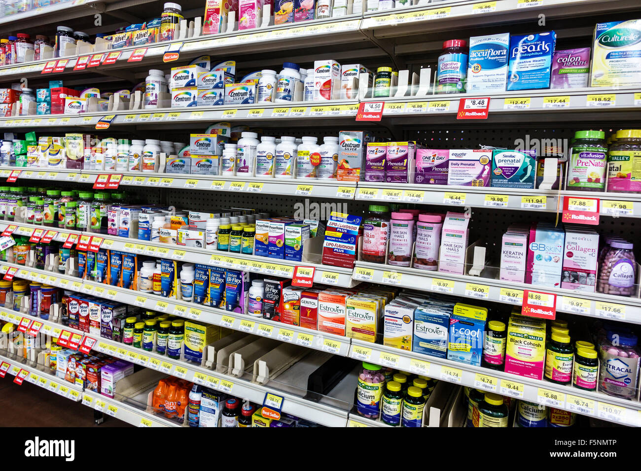Stuart Florida Walmart shopping sale display shelves vitamins dietary supplements - Stock Image