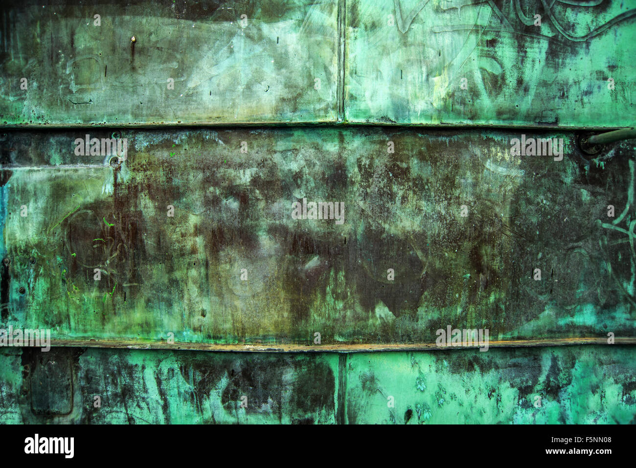 Oxidized Green Copper Metal Plate Texture As Industrial Rustic Background