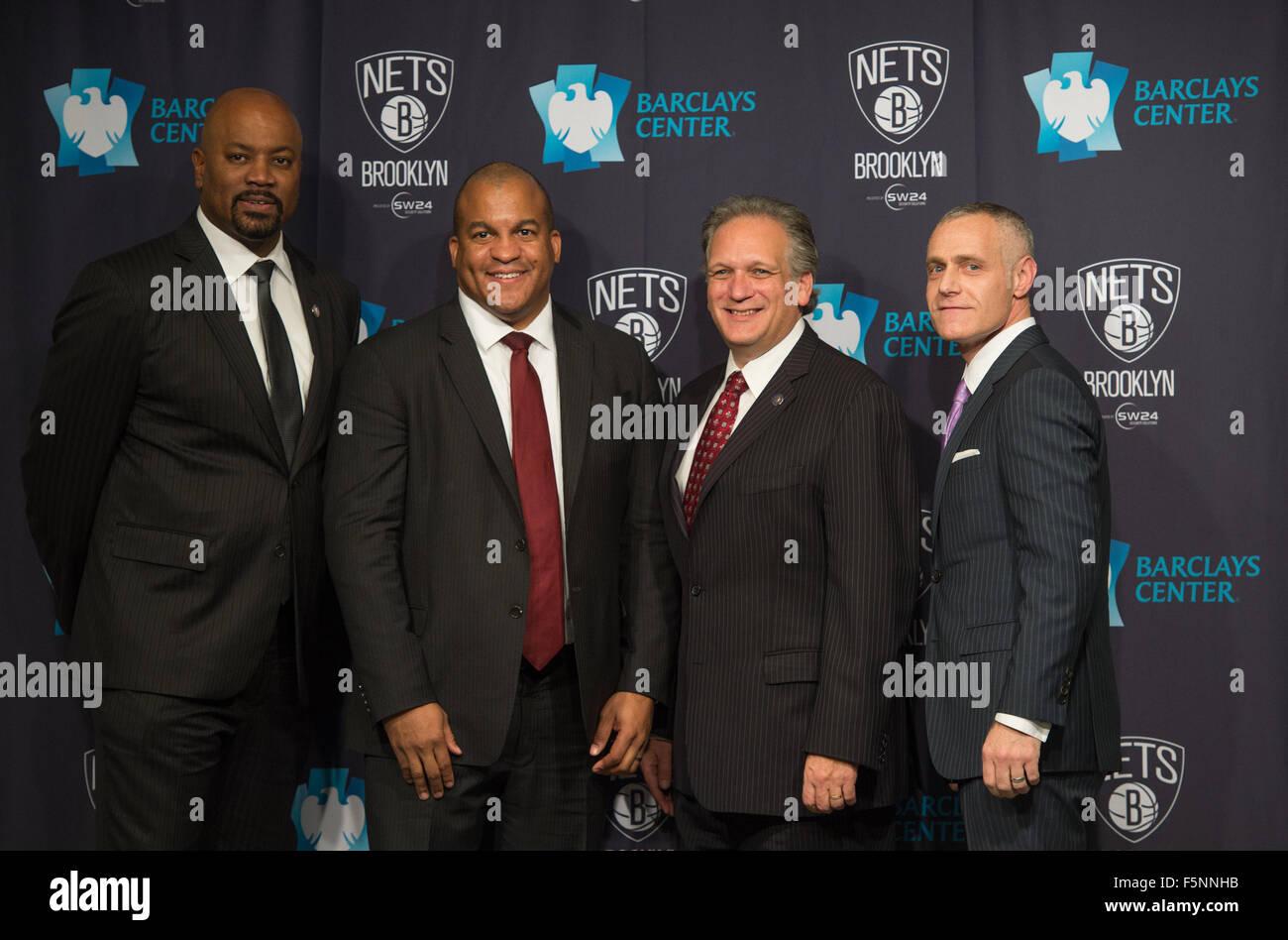 New York, NY, USA. 6th Nov, 2015. Nets GM BILLY KING, D-League President, MALCOLM TURNER, Nassau County executive - Stock Image