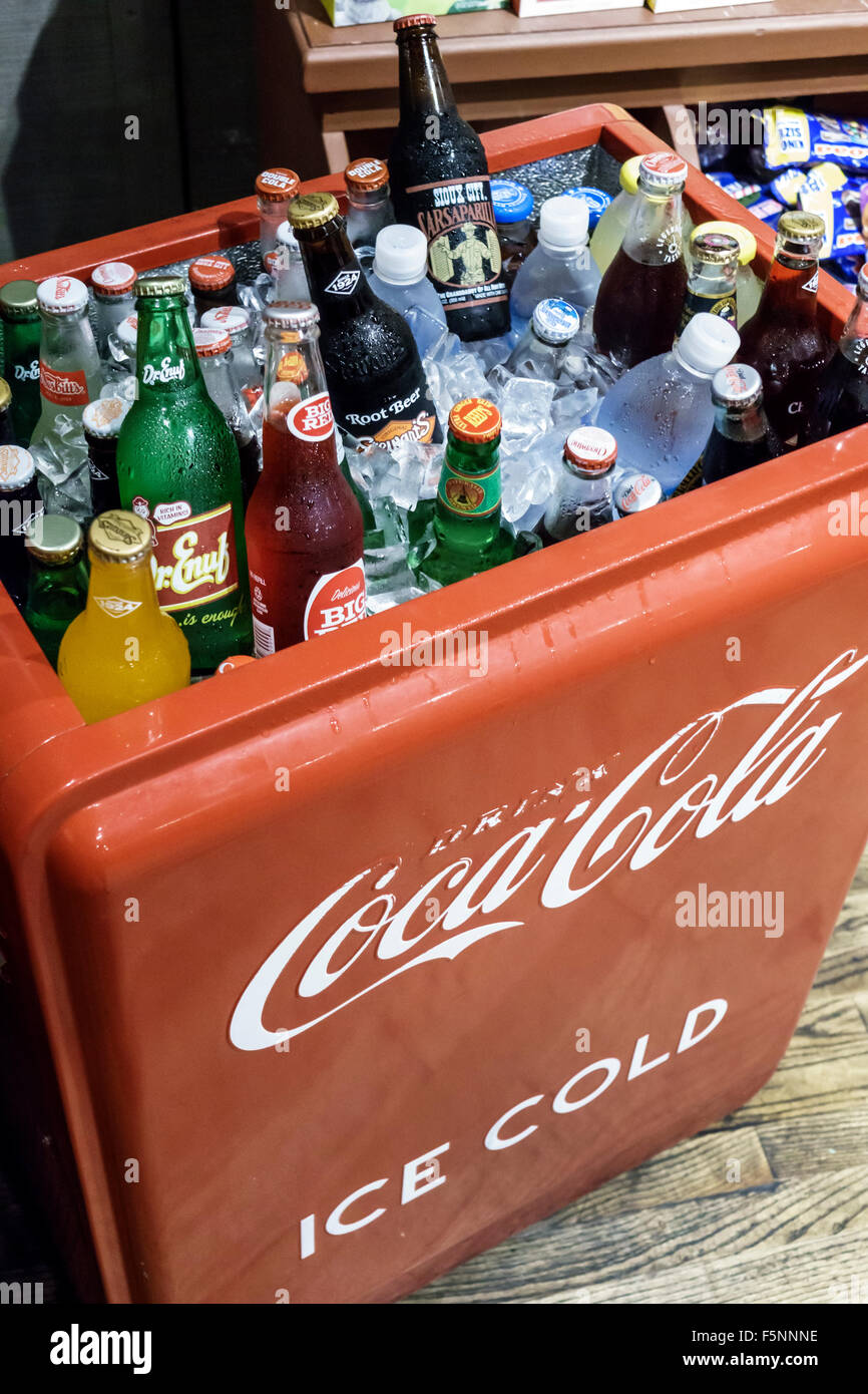 Stuart Florida Courtyard by Marriott hotel motel inside lobby cold drinks colas sodas bottles Coca-Cola - Stock Image